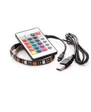 LED pásek 30cm, do USB, 9 diod, dálkový ovladač, 20 barev, samolepící